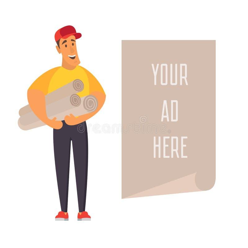 拿着与地方的推销员横幅广告的 平的传染媒介例证 皇族释放例证
