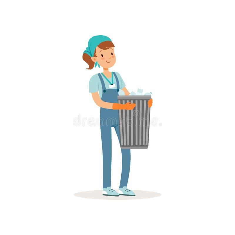 拿着与塑料瓶的女孩篮子 整体上运作的蓝色, T恤杉和班丹纳花绸的动画片少年 志愿者在 皇族释放例证