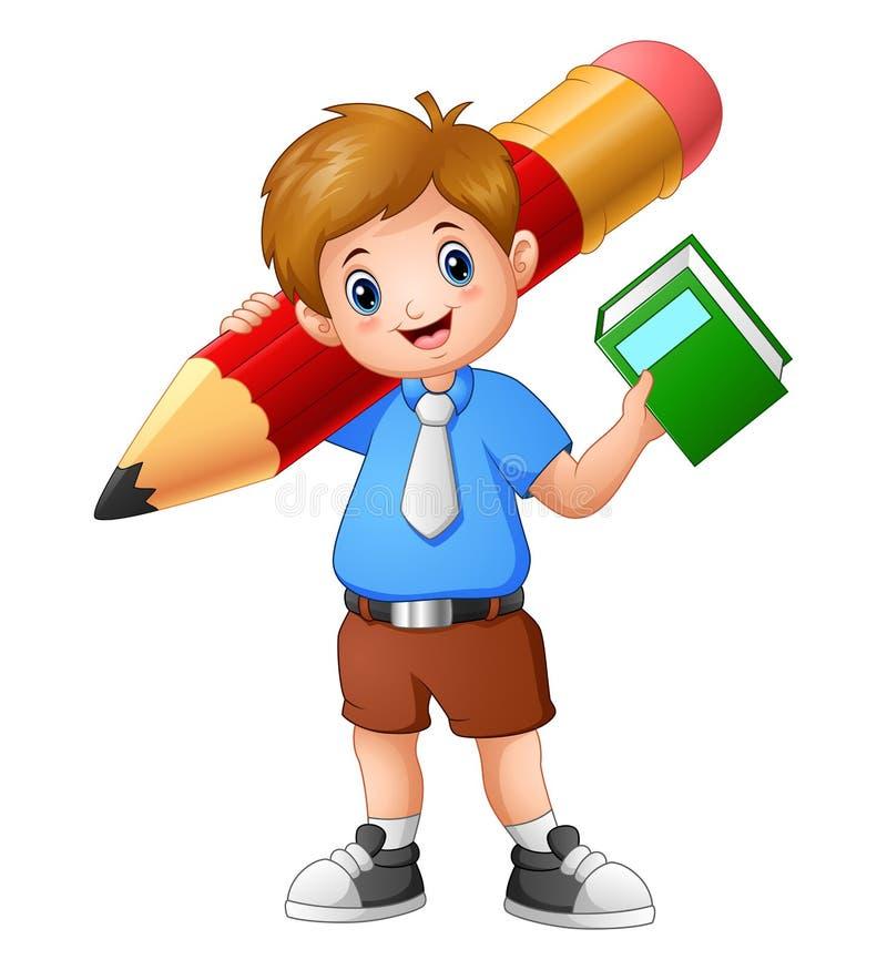 拿着与巨型铅笔的男生一本书 库存例证