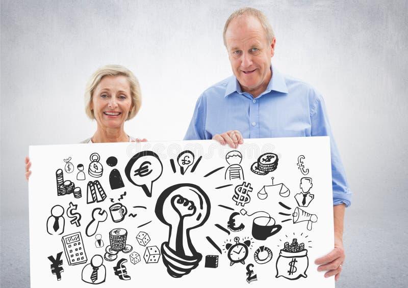 拿着与想法金钱和商业图表图画的年长夫妇卡片 库存例证