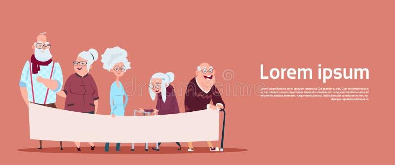 拿着与拷贝空间现代祖父和祖母的小组资深人民空的横幅全长 向量例证