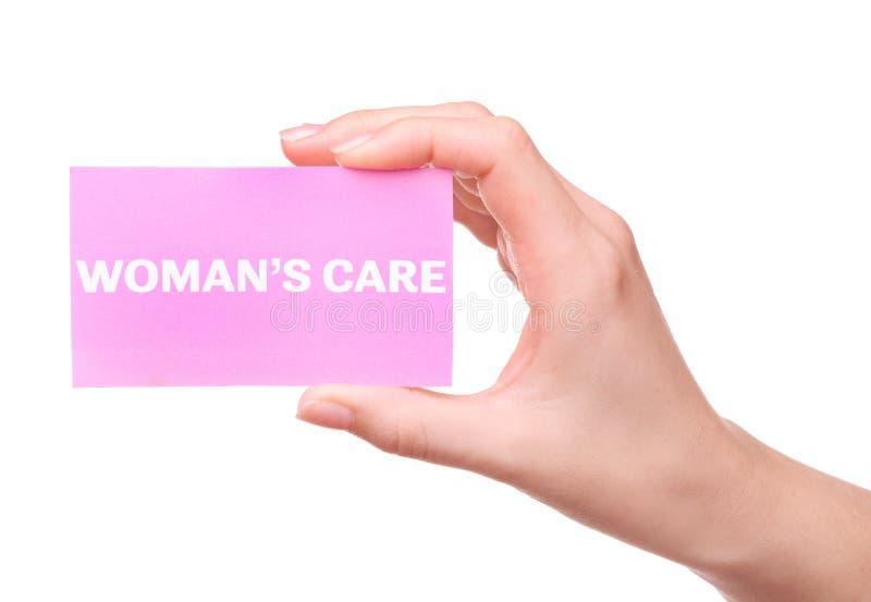 拿着与文本的女性手名片 免版税库存照片