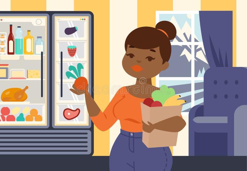 拿着与有机蔬菜和果子横幅传染媒介例证的正大小女孩纸袋 食品店的女孩 库存例证