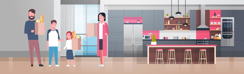 拿着与杂货产品的年轻家庭袋子在厨房屋子里 库存例证