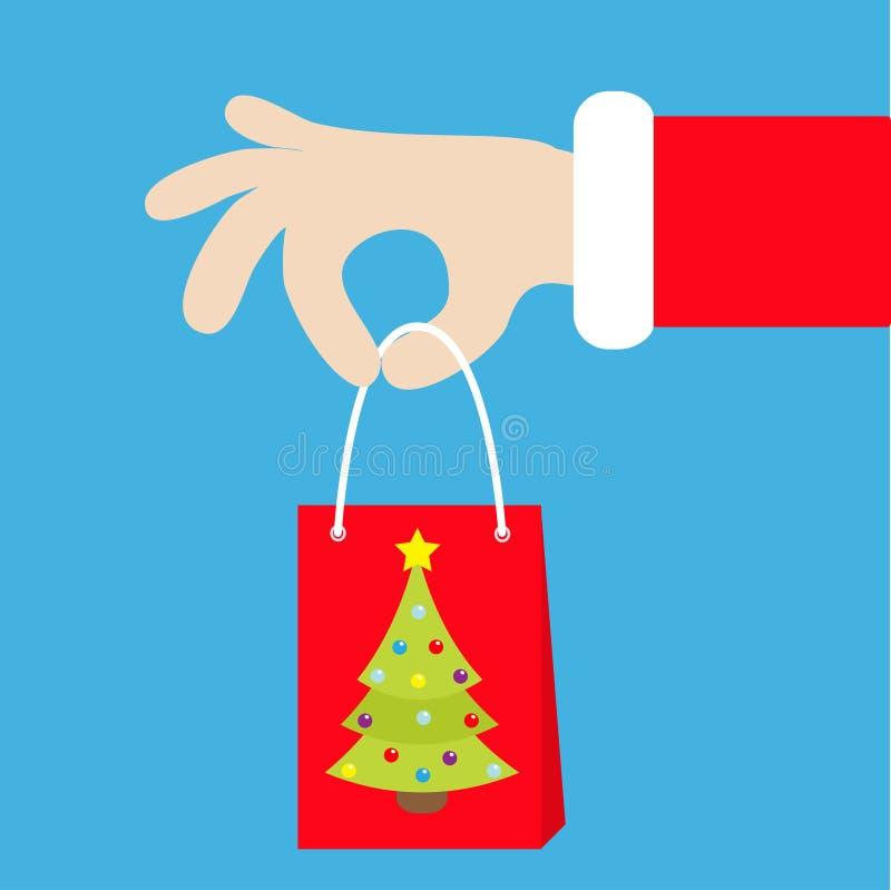 拿着与杉树的圣诞老人手礼物购物的纸袋 快活的圣诞节 红色服装毛皮 产生存在 逗人喜爱的动画片kaw 库存例证