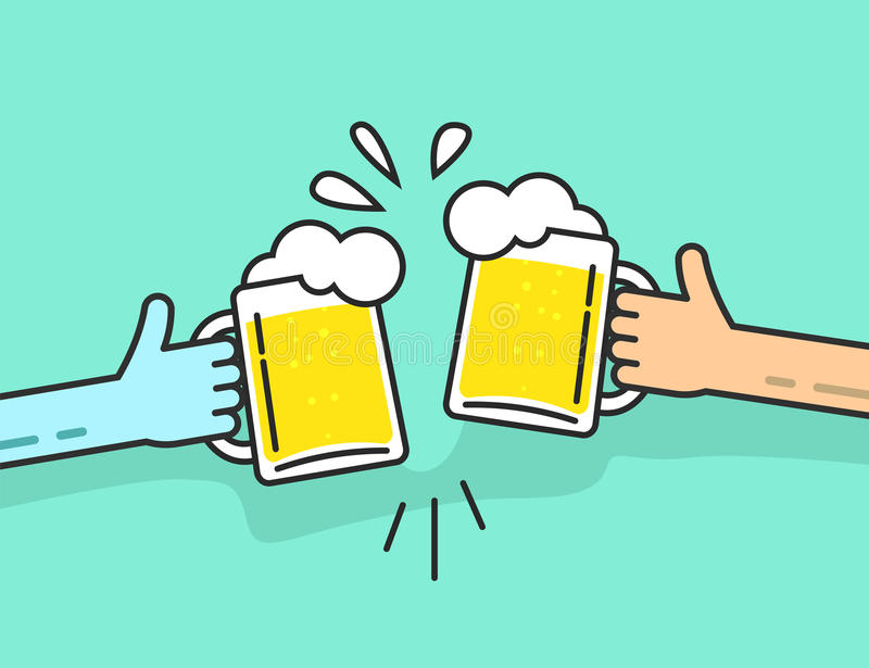 拿着与泡沫叮当响的两只抽象手啤酒杯 向量例证