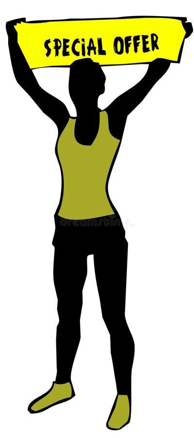 拿着与特价优待文本的运动的妇女剪影一个黄色横幅标志 库存例证