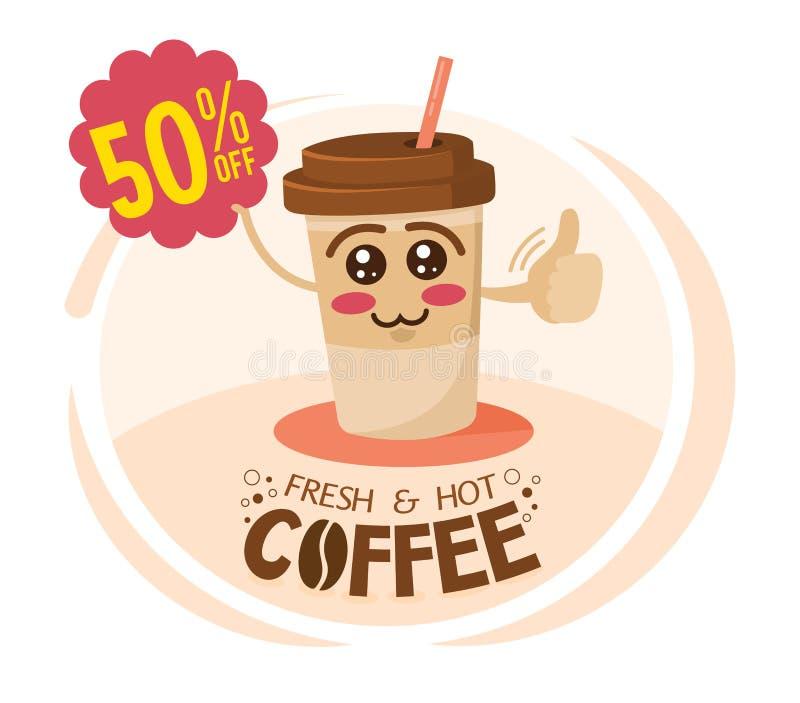 拿着与特价的滑稽的卡通人物咖啡杯一个标志 咖啡折扣概念 向量例证