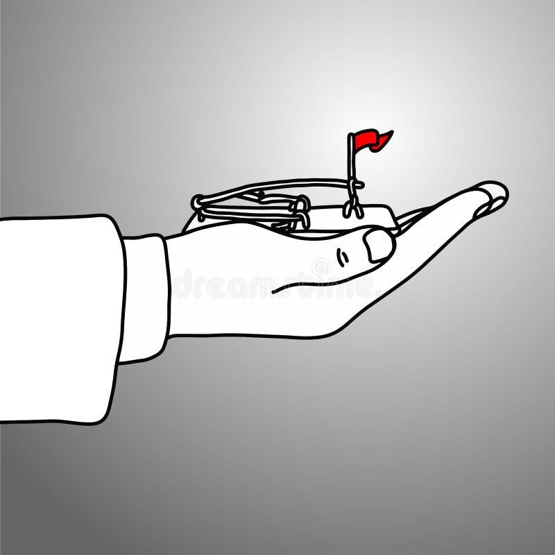 拿着与红旗传染媒介illust的商人的手捕鼠夹 向量例证