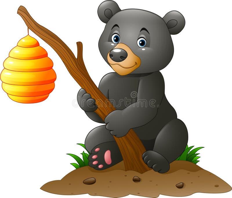 拿着与蜂蜂房的动画片熊分支 库存例证