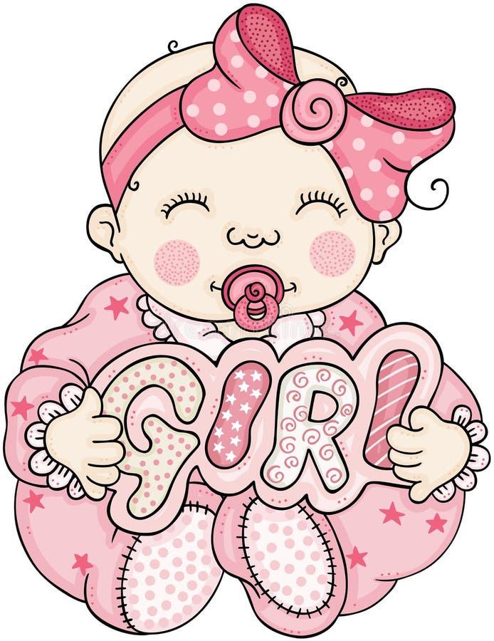 拿着与词女孩的桃红色婴孩一块牌 库存例证