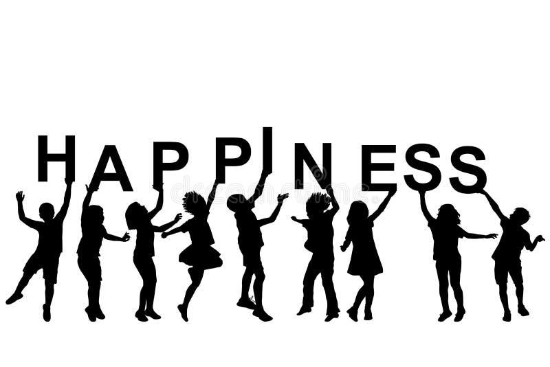 拿着与词幸福的孩子剪影信件 库存例证