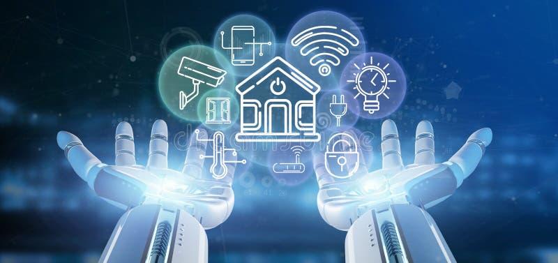拿着与象、stats和数据3d翻译的靠机械装置维持生命的人聪明的家庭接口 向量例证