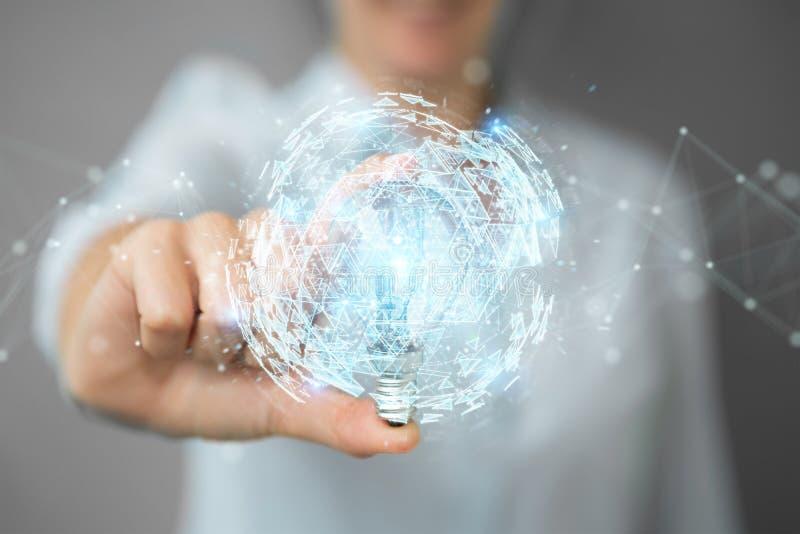 拿着与连接的女实业家一lighbulb在她的手3D上 向量例证