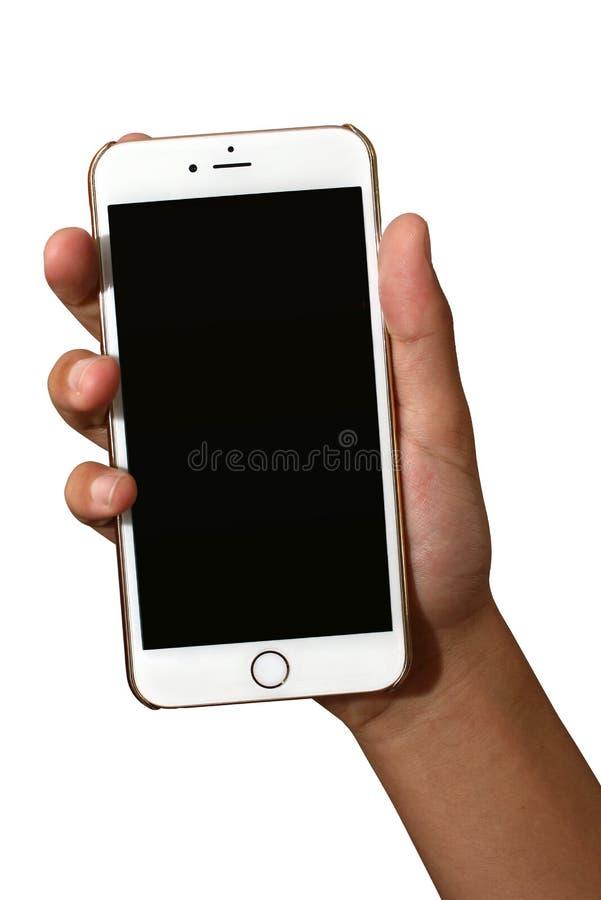 拿着与黑屏的手苹果计算机iPhone6 库存图片