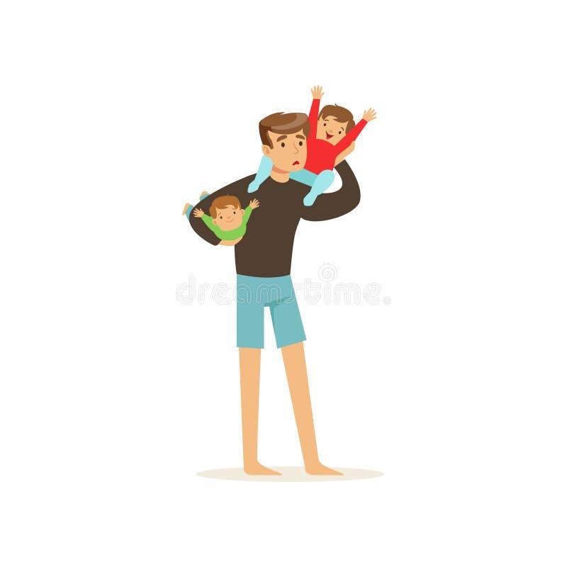拿着两个小快乐的孩子的被用尽的父亲 向量例证