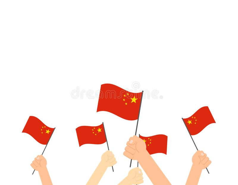 拿着中国旗子的手 皇族释放例证