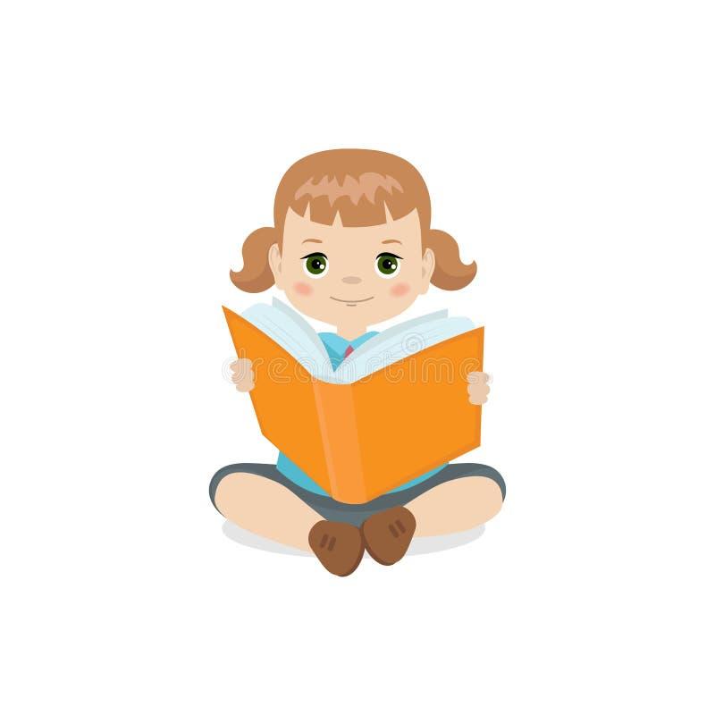 拿着书的女孩 皇族释放例证
