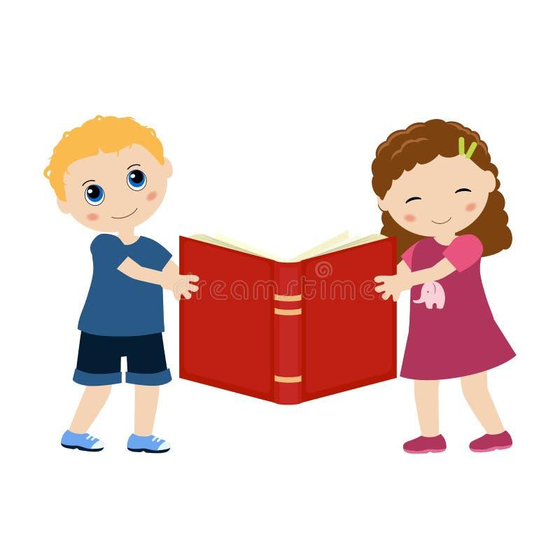 拿着书的孩子 皇族释放例证