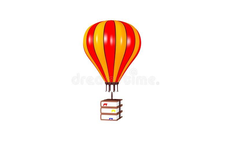拿着书的热空气气球 图库摄影
