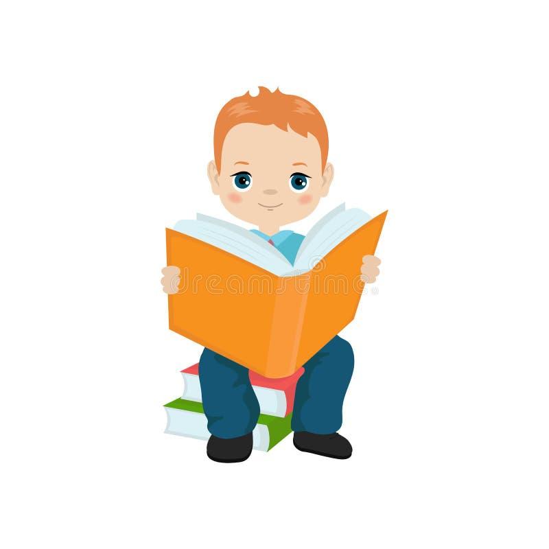拿着书的男孩 向量例证
