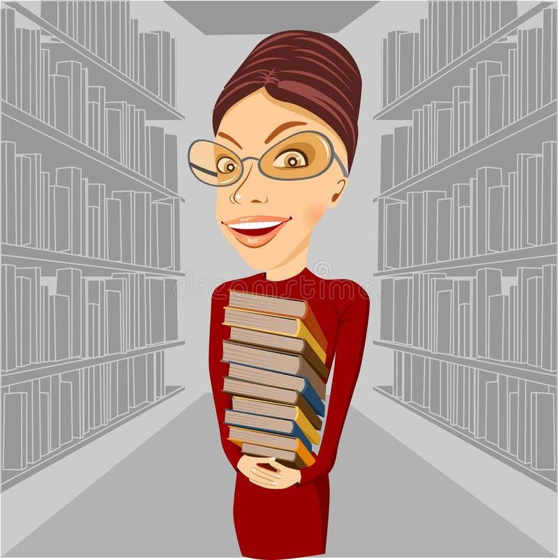 戴拿着书的眼镜的微笑的图书管理员 皇族释放例证