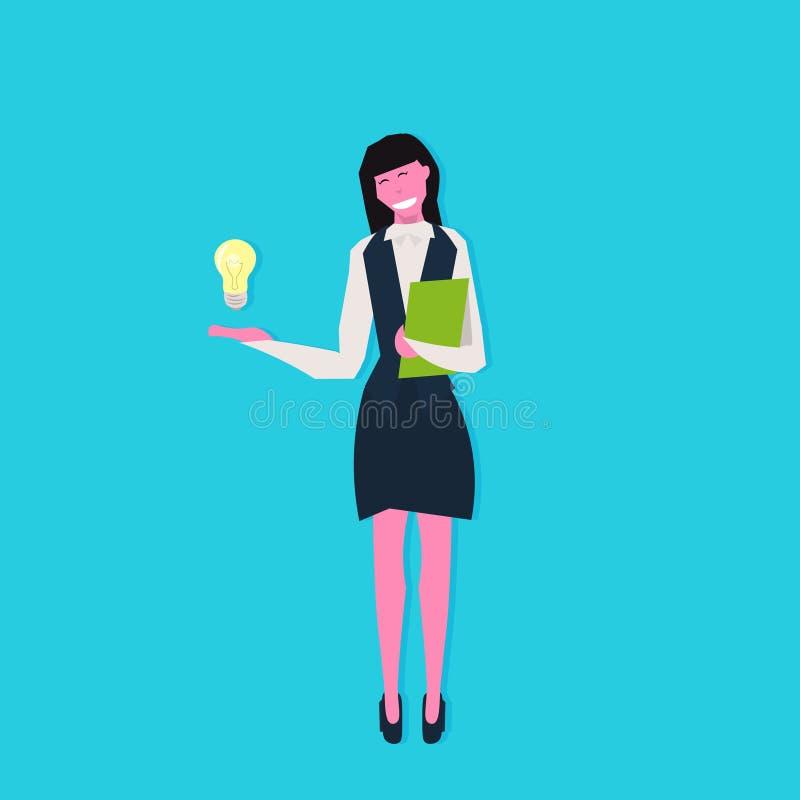 拿着书轻的灯创新想法起始的概念女性漫画人物平的全长蓝色的女实业家 库存例证