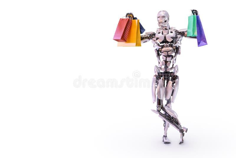 拿着五颜六色的购物带来的一个愉快的有人的特点的机器人机器人 消费者至上主义和购物概念 3d例证 库存例证