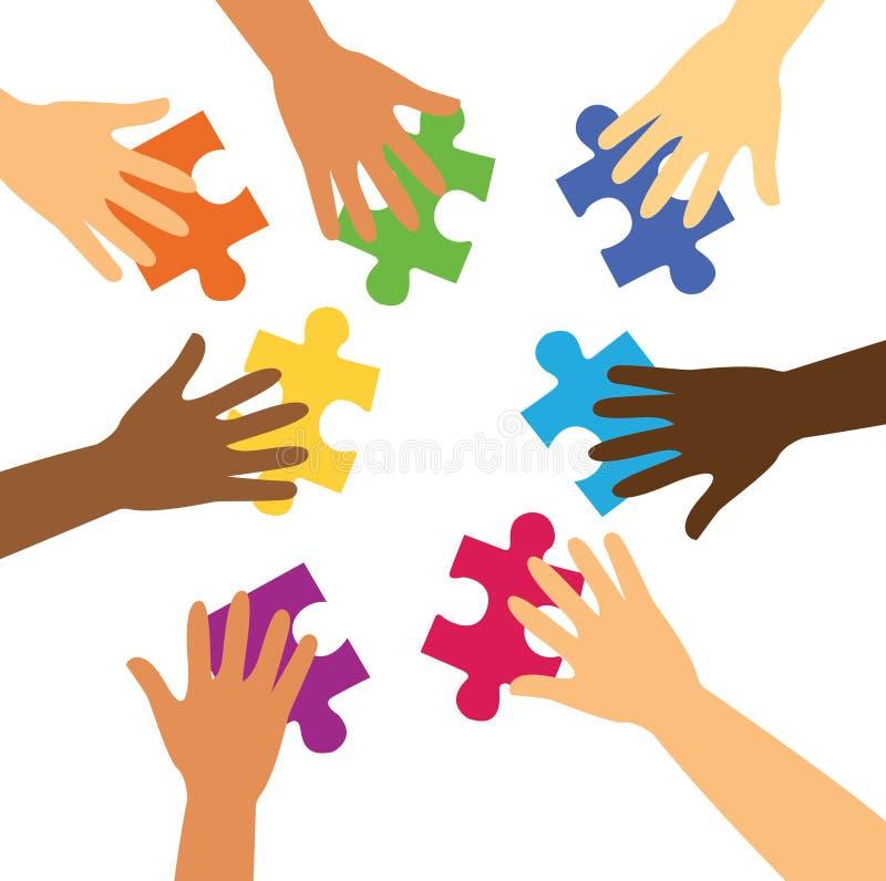 拿着五颜六色的难题片断的许多手 向量例证