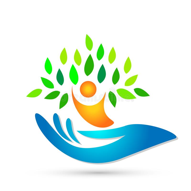拿着人的在白色背景的手树医疗保健健康医疗商标象 向量例证