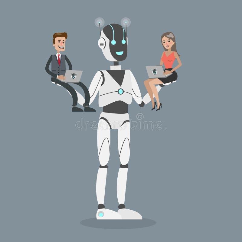 拿着人的机器人 向量例证