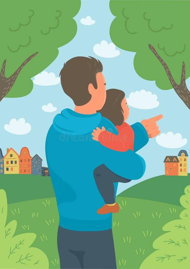 拿着他的小女儿和显示自然的父亲 库存例证