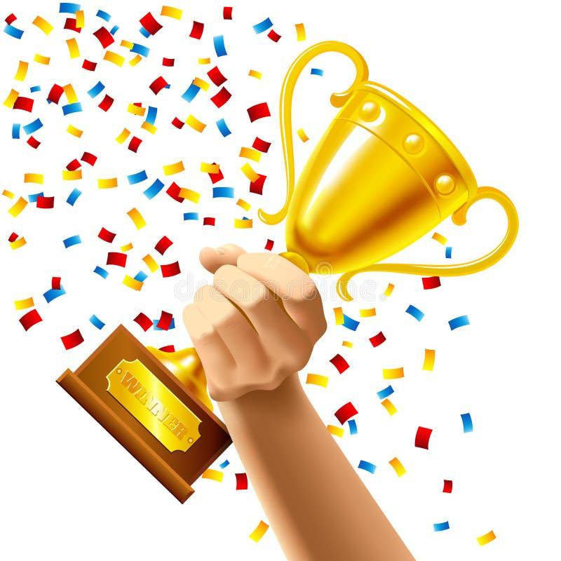 拿着优胜者战利品杯子奖的手 向量例证