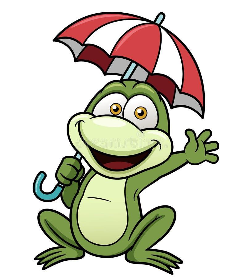 拿着伞的青蛙 皇族释放例证