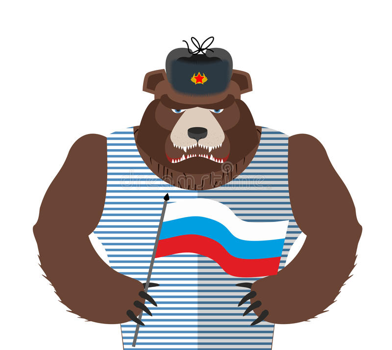 拿着俄国旗子的恼怒的俄国熊 毛皮的ha野兽爱国者 皇族释放例证