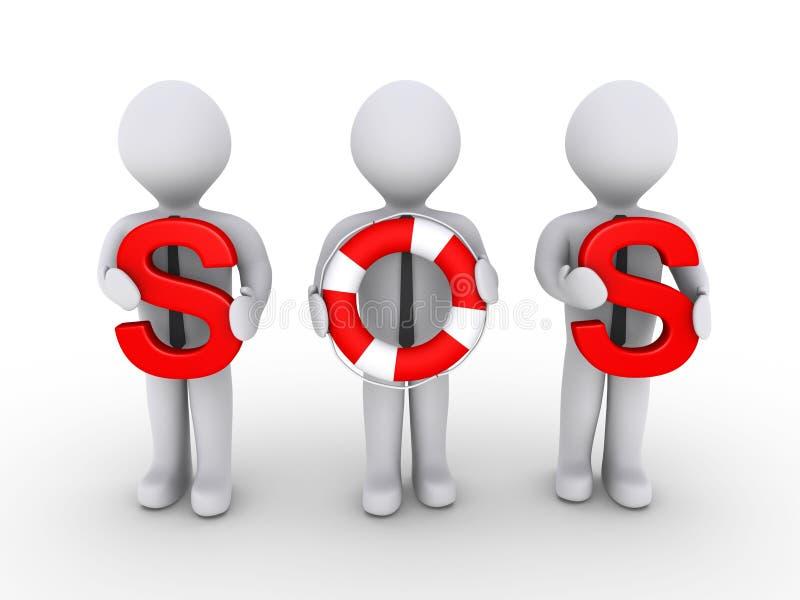 拿着信函lifebuoy sos的生意人使用 向量例证