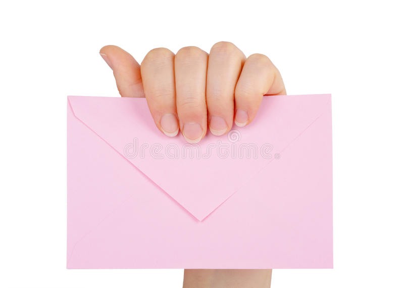 拿着信封的妇女的手被隔绝 免版税库存图片