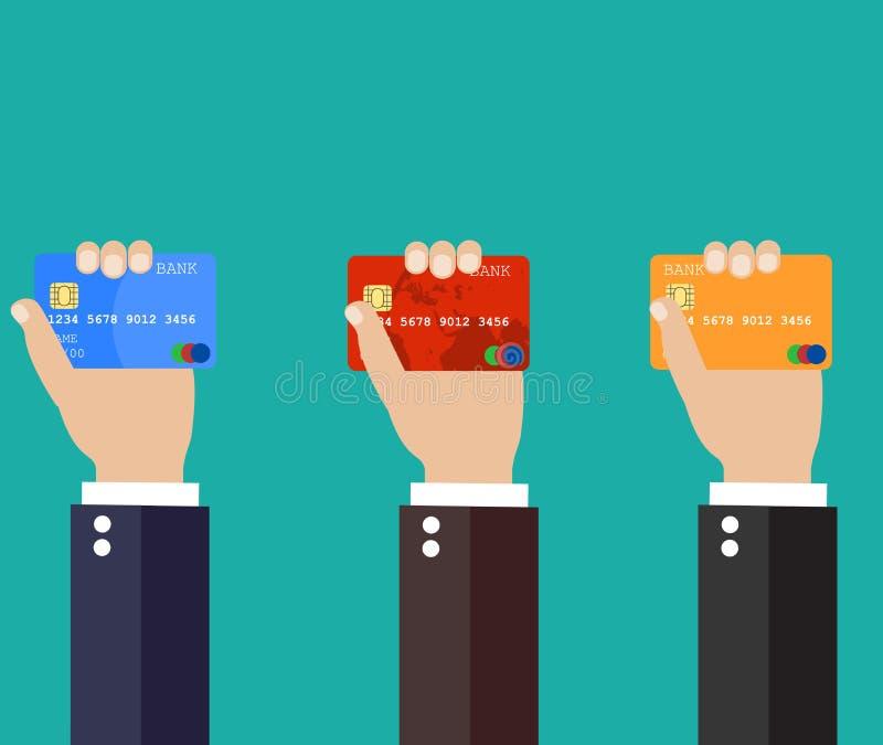 拿着信用卡的商人手 向量例证