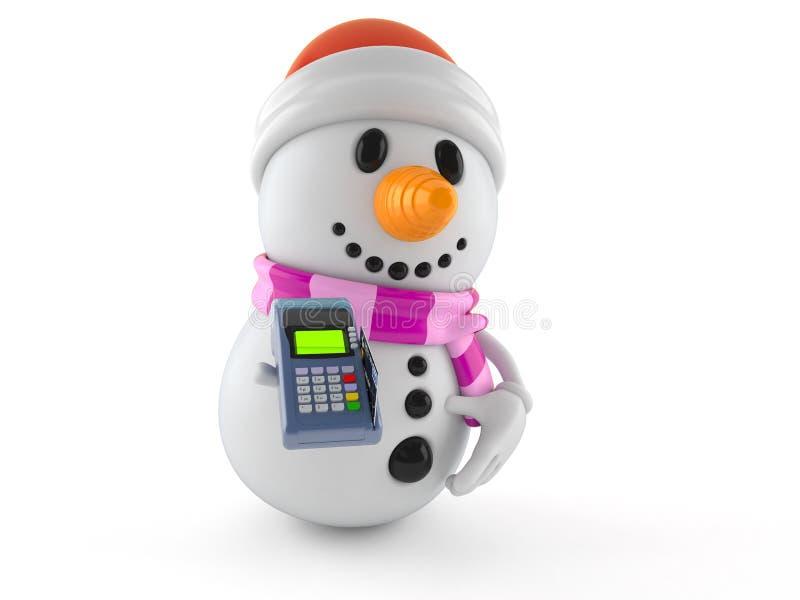 拿着信用卡读者的雪人字符 向量例证