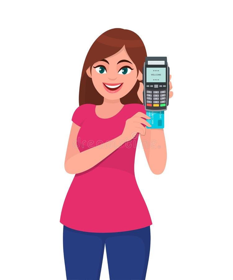 拿着信用/借记卡或者pos终端付款机器和插入卡片的逗人喜爱的年轻女人 无线现代银行付款 向量例证