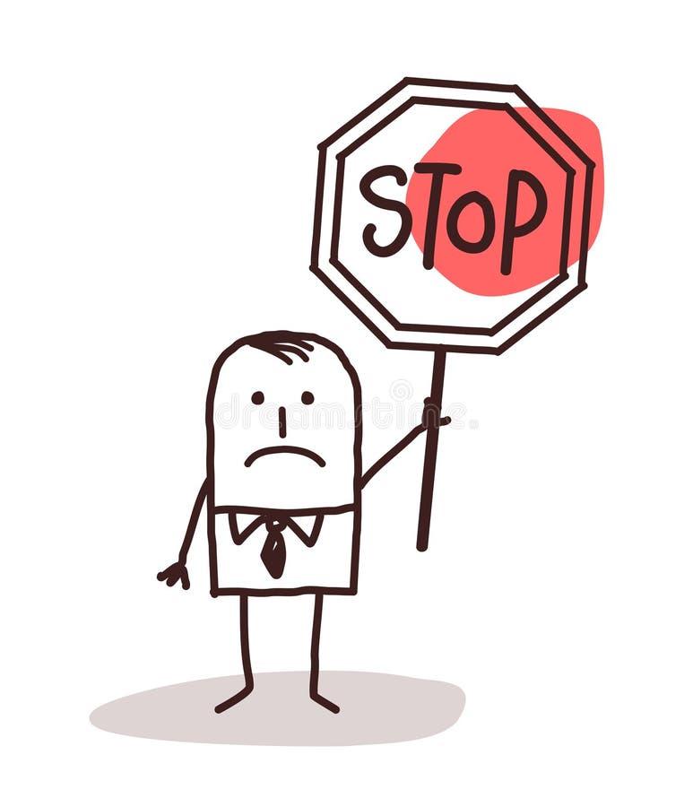 拿着停车牌的动画片商人 库存例证