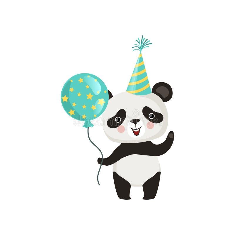拿着光滑的气球和挥动由爪子的熊猫 在党帽子的滑稽的竹熊 儿童` s书的平的传染媒介设计 皇族释放例证