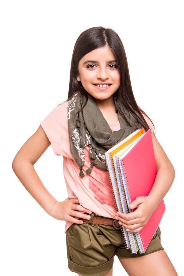 拿着写生簿的女孩 库存图片
