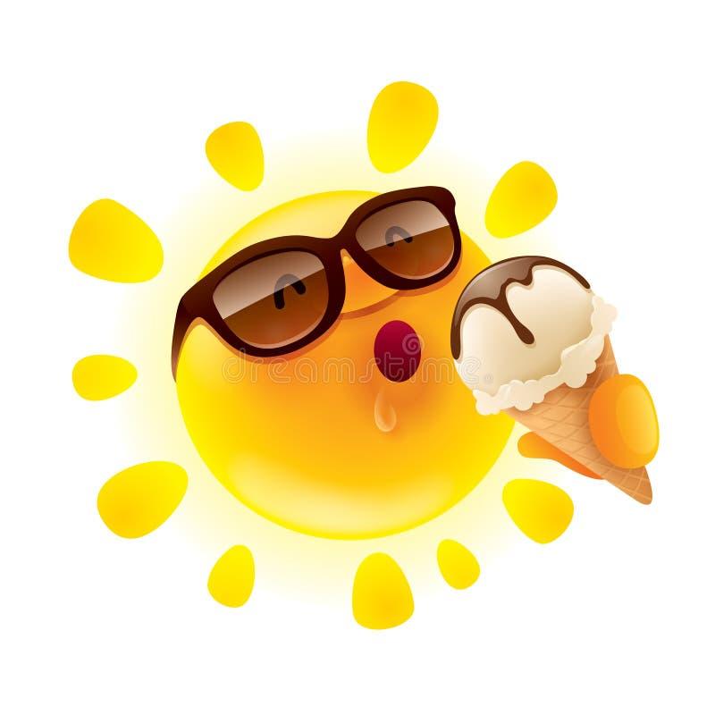 拿着冰淇凌的夏天太阳 向量例证