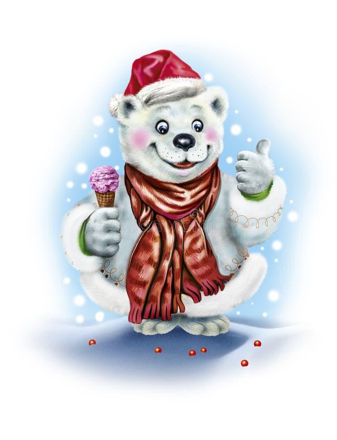 拿着冰淇淋的北极熊 皇族释放例证