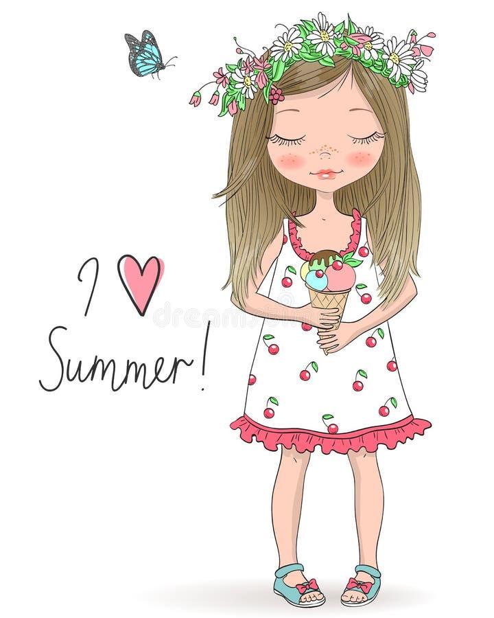 拿着冰淇淋,在与题字的背景的花圈的手拉的美丽,逗人喜爱的女孩我爱夏天 皇族释放例证
