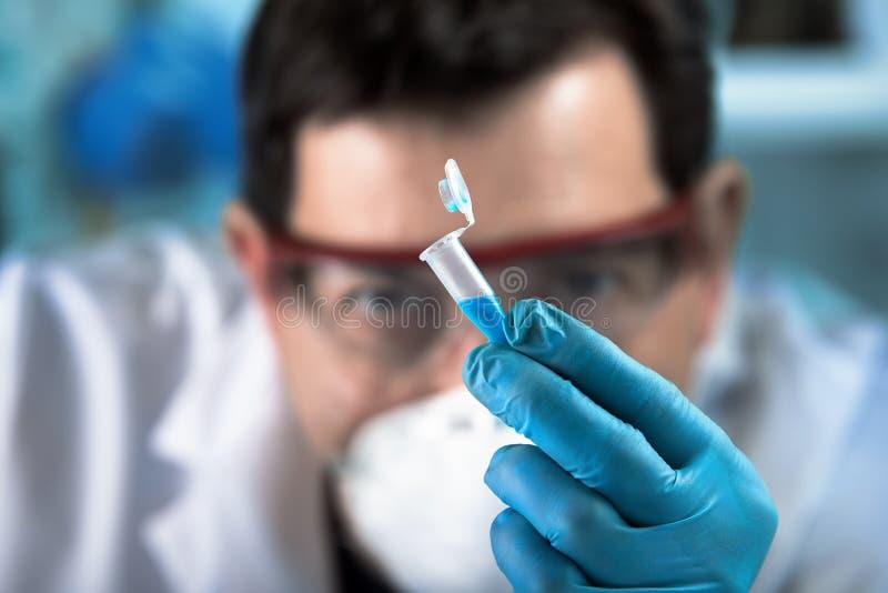 拿着分析的技术员研究员pcr管在临床实验室 库存图片