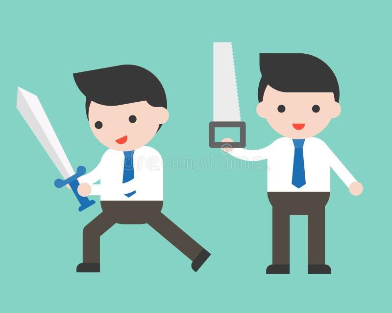 拿着剑和锯的逗人喜爱的商人或经理,立即可用 库存例证