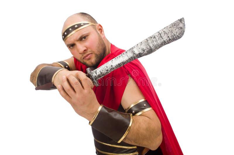 拿着剑的争论者被隔绝在白色 免版税库存图片