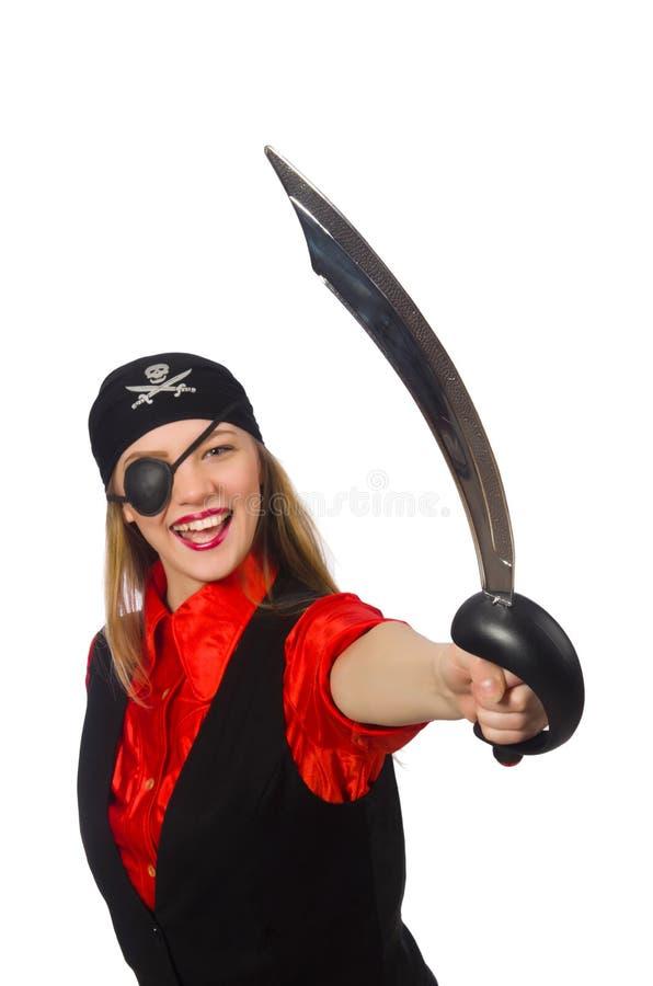 拿着剑的俏丽的海盗女孩被隔绝在白色 库存图片